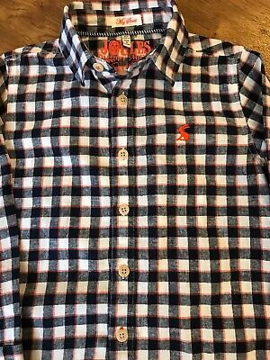 Joules Boys Checked Shirt Age 4 Excellent Used Condition Navy Orange And White