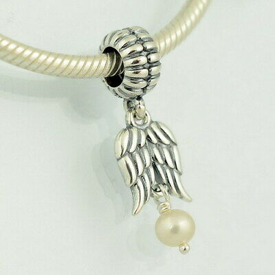 Genuine Pandora S925 Ale Sterling Silver & Pearl Angel Wings Charm In Pouch/Box