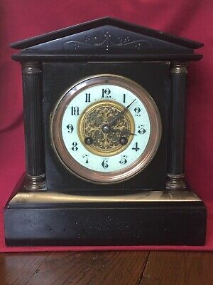 Victorian Antique Slate Mantle Clock - Japy Freres & Co