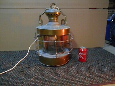 Vintage Nautical BRASS  Anchor Ship lantern converted to 120 V w pull switch