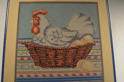 """Vintage Completed Framed Needlepoint Chicken 16"""" X 16"""""""