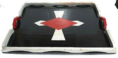 Art Deco Black Silver & Red Painted Wood Wooden Tray With Bakelite Step Handles