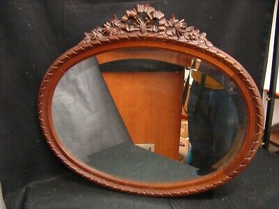 Antique Mirror Oval Louis XVI Wooden Carved