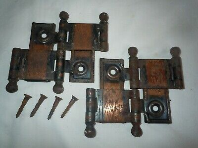 2 Vtg Cafe Door Hinges Double Swing saloon type OLD Chicago Brand Japanned