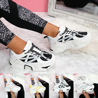 Womens Ladies Chunky Sole Sneakers Women Party Platform Trainers Shoes Size