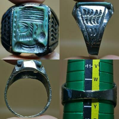 King Sassanian Seal intaglio Wonderful Unique Old Ring # 129