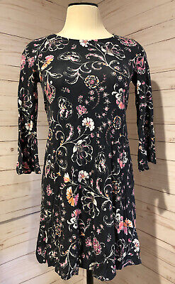 Justice Girls Size 12 Black W/ Floral Print 3/4 Sleeve Dress Stretch VGUC
