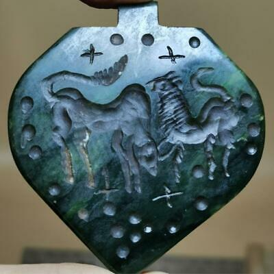 Cow & Lion Wonderful Old Jade stone Intaglio stone Stamp pendant # 129