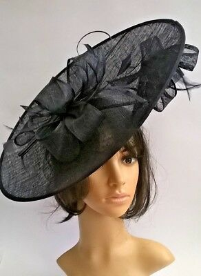 Navy Blue Hatinator..Sinamay  with bow & quills Wedding.races.,ascot.new