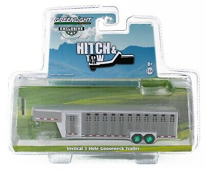 1:64 GreenLight *GRAY* Vertical 3 Hole Side LIVESTOCK TRAILER GREEN MACHINE
