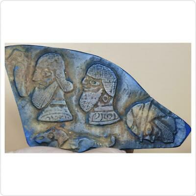 Ancient Backtrian Emperors King 3 Faces & Lion Carved Lapis stone Relief  20 cm