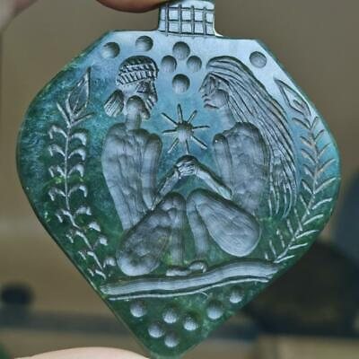 Jade Stone Antique King & Queen Seal stone Old Pendant # 129