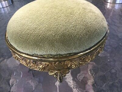 Antique Vintage Victorian Cast Brass Footed Plateau~Foot Stool Grape & Shield
