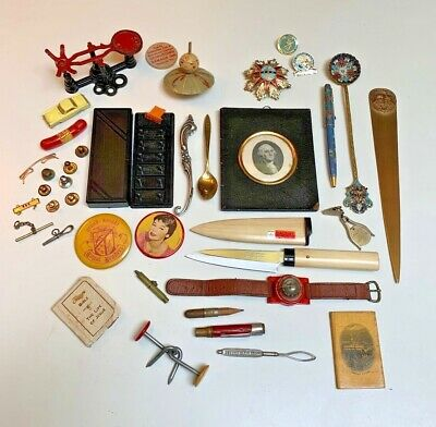 JUNK DRAWER 35+ pc LOT~Antique~Vintage~assorted crap~What you see you get