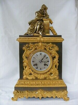 Antique French Bronze Ormolu, 8 Day, Empire Mantle Clock by Honore Pons c1850