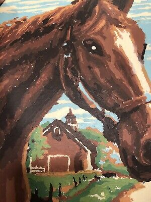 Horse Brown Vintage PAINT BY NUMBER Farmhouse Ranch Barn 1950s Completed