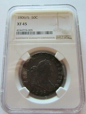 1806/5 Draped Bust Half Dollar NGC XF45 Fifty Cents Over Date Silver Coin 50c