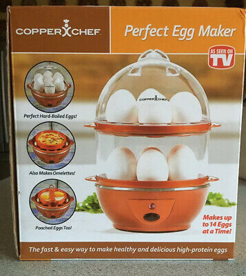 Electric Egg Cooker Copper Chef Perfect Egg Maker Auto Boil Up To 14 Eggs New