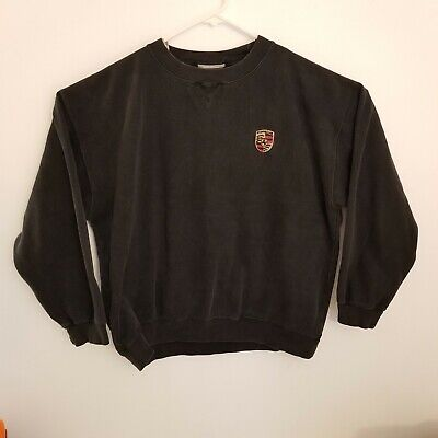 PORSCHE VINTAGE MENS CREWNECK SWEATSHIRT XL BLACK 90s OFFICIAL CREST Made in USA