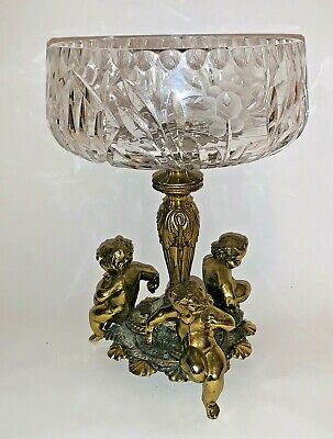 "Antique Crystal Bowl Brass Cherub Compote Pedestal Hollywood Regency 12"" High"