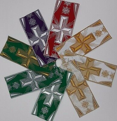 """Vestment Banding Cross Design 3"""" Embroidered USA Made Assorted Colors By Yard"""