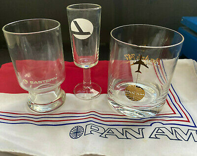 Puerto Rico 1970-80s Vintage PAN AM/Eastern Airlines Glasses lot of 3, age spots