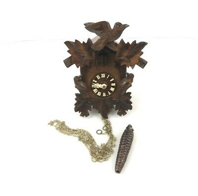 Antique Wooden Black Forest Cuckoo Clock Woodpecker Schmeckenbecher ✅ 2.A5