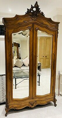 Lovely Antique French Louis Xvi Walnut Mirrored Armoire / Wardrobe C1900