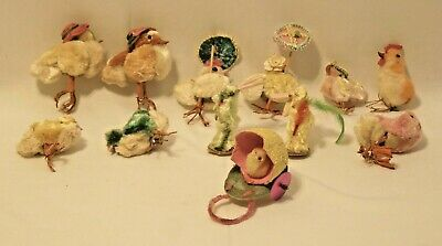 12 Vintage EASTER CHICKS & Bunnies CHENILLE with Parasols, Hats - Must See!