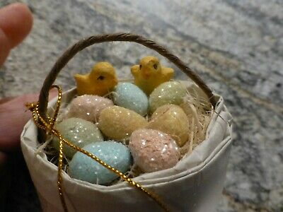 Bethany Lowe Easter Basket with Glitter Eggs and Chicks, NWT, HTF
