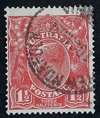 1924 Australia 1 1/2d red KGV stamp 2nd WMK Used variety Scratched Electro