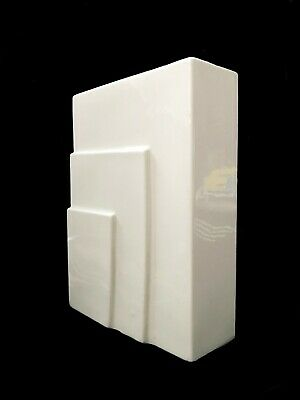 Signed and dated Art Deco white ceramic sculptural bookend/ vintage 1930s Modern