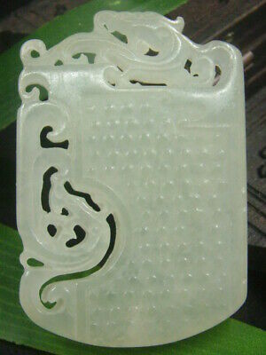 Antique Chinese Nephrite Celadon Hetian-OLD jade Dragon Statues/Pendant