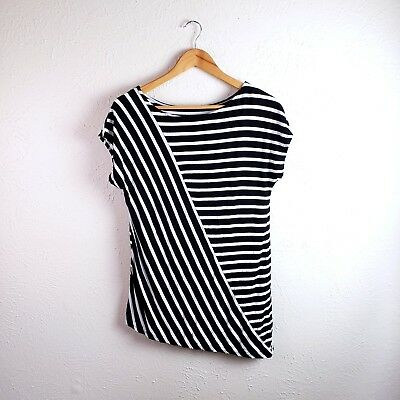 WHBM Womens Top Black White Striped Short Sleeve Pullover Blouse Scoop Neck Sz S
