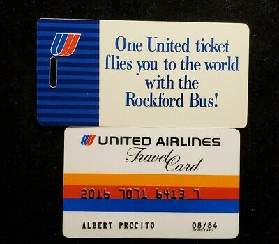 United Airlines Travel card exp 1984♡Free Shipping♡cc951♡ Luggage Tag