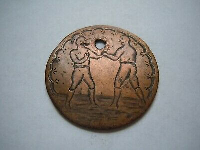 Canada Large Cent Engraved Two Boxers Love Token X Rare Piece Jewelry