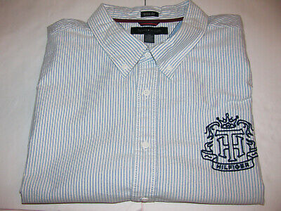 TOMMY HILFIGER Men's XXL 2XL Pin Striped Cotton Button Up S/S Embroidered Logo