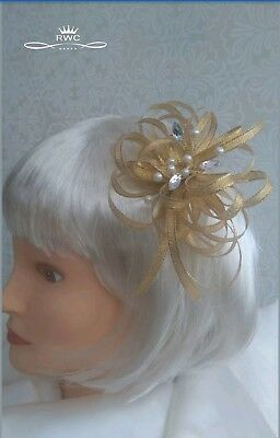 Gold shimmer fascinator croc clip/ head band/ comb/ pears/ jewels