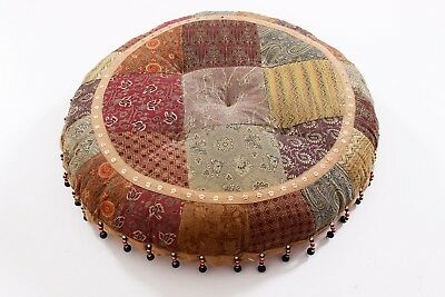 Handmade Multi-color Pouf Cotton Beads Work Footstool Indian Handwork Pouf Stool