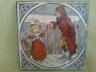 Antique Arts & Crafts Tile George Woolliscroft Winter Snow Scene With Children
