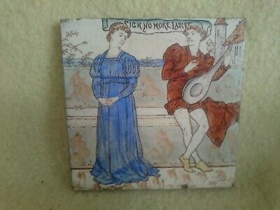 Antique Arts Crafts Tile Shakespeare Much Ado About Nothing Sigh No More Ladies