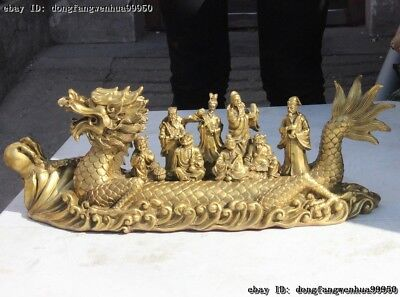 Chinese Myth Brass Copper Eight Immortals By Dragon Boat Across The Sea Statue