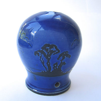"Vintage Blue Pottery Lamp Base with Black Silhouette Trees Landscape H 5"" Small"