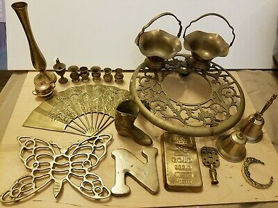 VTG 20pc BRASS Lot BELLS FAN INCENSE BURNERS BUTTERFLY TRIVET PLANT STAND BOOT++