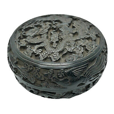 Antique Chinese Wooden Hand Carved Round Box Black Stained Traditional Asian