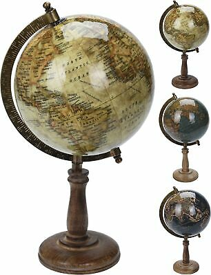 Globe Atlas 32cm Vintage Antique Style Rotating Swivel World Map Earth Geography