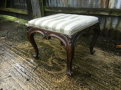 Victorian Rosewood Dressing Stool On Cabriole Legs