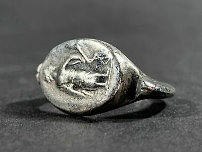 Scarce Ancient Roman Silver Legionary Ring Depicting Legionnaire Circa 100-300Ad