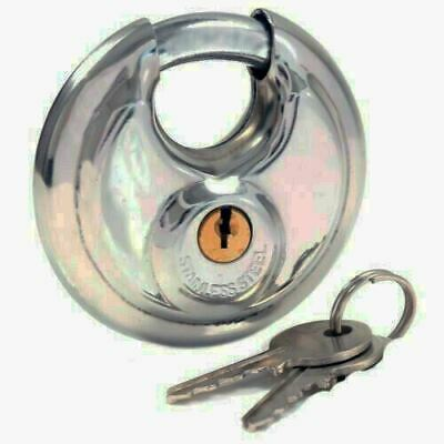 90mm Round Steel Disc Padlock Door Circular Discus Hardened Shackle Disc Lock