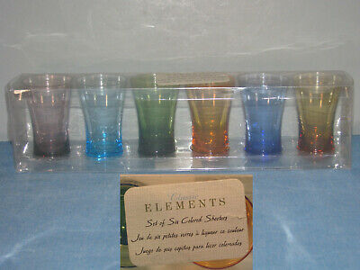 Classic Elements Colored Shooters Rainbow Set Of 6 Shot Glasses New In Box
